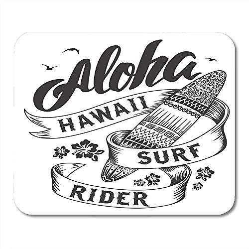 Mauspad Surf Aloha Surfboard Hawaii Abzeichen Blumen Vintage Amerikanische Mauspad 25X30Cm