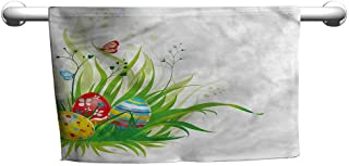 alisoso Easter,Kids Bath Towels Hidden Eggs on Grass Spring W 35