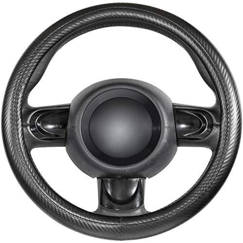 SEG Direct Lenkradabdeckungen Kohlefasermuster Klein 35,5-36 cm für Prius Civic Modell 3 Camaro Spark Rogue, schwarzes Mikrofaserleder