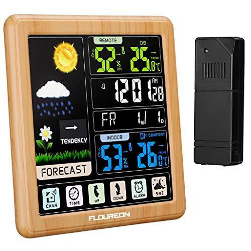 FLOUREON Wetterstation mit Außensensor Innen Funkwetterstation mit Farbdisplay Digital Thermometer Hygrometer Temperatur- und Feuchtigkeitsmonitor Touchscreen Holzmaserung