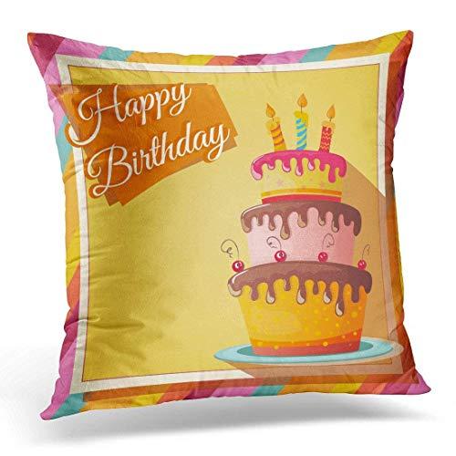 tyui7 Pastel de cumpleaños con Cupcake Creative Happy Celebration Greeting Fundas de Almohada Poliéster 45x45cm Cuadrado con Cremallera Oculta Cojín