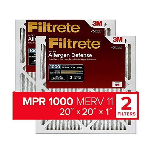 Filtrete 20x20x1, AC Furnace Air Filter, MPR 1000, Micro Allergen Defense, 2-Pack (exact dimensions 19.719 x 19.719 x 0.84)