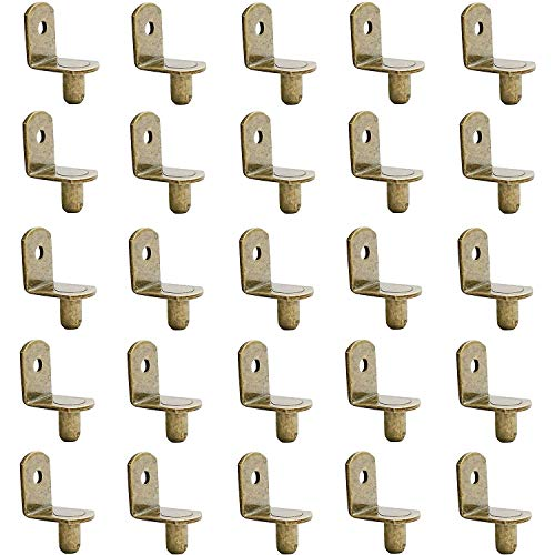 MANSHU 50 PCS Shelf pins, Shelf Bracket Pegs with Hole, Bracket-Style, L-Shaped Furniture Bracket Pegs Cabinet Bracket Pegs Shelf Pegs,Bronze Tone