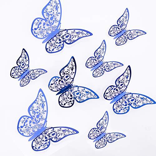 AIEX 24 Piezas Adornos De Mariposas 3D Pegatinas Extraíbles De Vivo Con 3 Tamaños Diferentes, Para Calcomanías De Pared, Adornos De Habitación De Niños, Decoración De Fiesta De Boda (Azul leal)