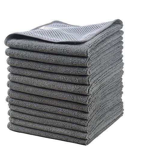 Microfasertuch Mikrofaser Putztuch Universaltuch Reinigungstuch - extrem saugstark und weich Spültuch Geschirrtucher - für Küchen,Badflächen ,Haushalt, Büro(30cmx30cm, 12 Stück Grau)