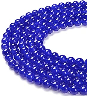 PLTbeads Gorgeous Blue Dyed Jade Natural Gemstone Loose Beads 10mm Smooth Round Approxi 15.5 inch DIY Bracelet Necklace fo...