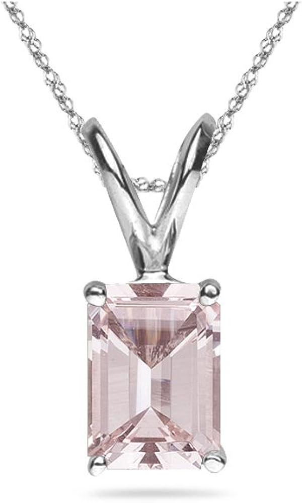 Natural Morganite 5 popular Luxury Emerald Cut Solitaire Pendant Platinum in Avai