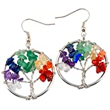 SUNYIK Mixed Stones Tree of Life Dangle Earrings Silver Plated for Women(Silver Plated)