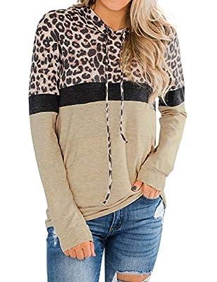 Ezcosplay Women Drawstring Long Sleeve Leopard Color Block Hoodies with Pocket Khaki