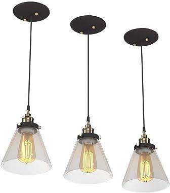 Jackson 1-Light Pendant 3-Pack, Antique Brass & Bronze, Black Cord, Glass Shade,65207