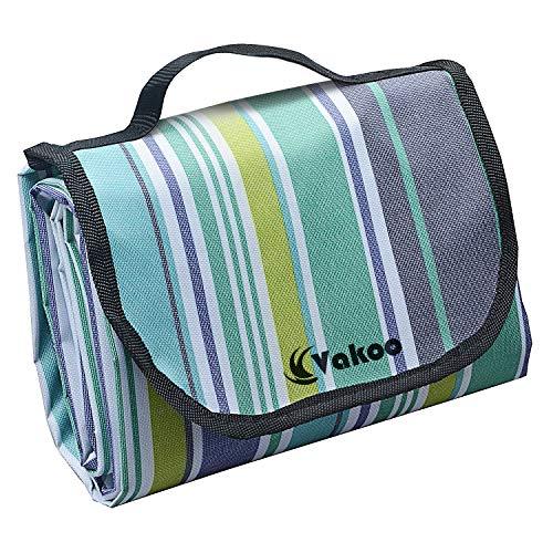 Picknickdecke, Vakoo Wasserdicht 200X200 CM Picknick Decke Extra groß Sandfreie Campingdecke Tragbar mit Tragegriff für Park Reise oder Outdoor Camping (4-6 Personen)