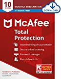 McAfee Total Protection 2021 Antivirus Internet Security Software, 10 Device Password Manager, Parental Control, Privacy, 30 Days Free with Monthly Auto Renewal - Amazon Exclusive Subscription
