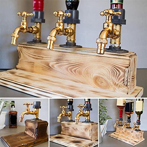 XW Dispensador De Madera De Whisky - Día del Padre Licor Alcohol Whisky Dispensador De Madera Forma De Grifo para Fiestas, Cenas, Bares Y Estaciones De Bebidas,Double Outlet