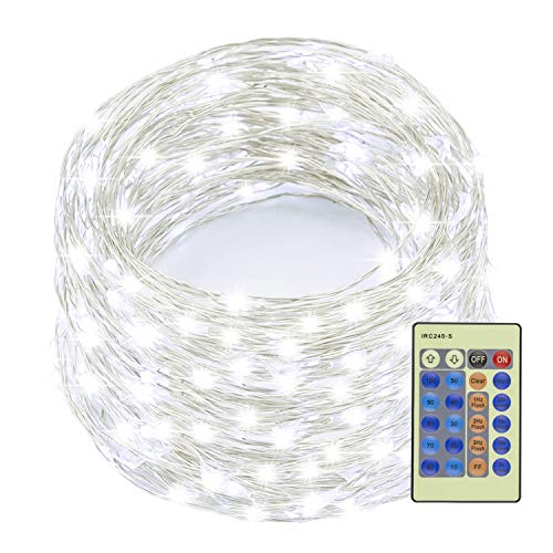 Decute 99 Feet 300 LED Cool White Fairy Christmas String Lights Dimmable with Remote Control, UL Listed Copper String Lights for Party Wedding Bedroom Christmas Tree