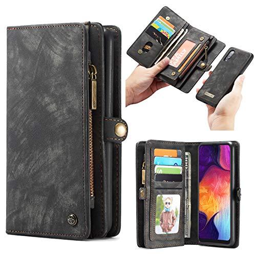 Simicoo Samsung A50 Leder Wallet Schutzhülle 11 Kartenfächer Reißverschluss Abnehmbare Brieftasche Magnetverschluss Robuste Filp Tasche Handyhülle für Samsung A50 (A50, Black)