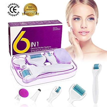 Dermaroller, Winpok 6 en 1 Derma Roller, Derma roller, Ideal para tratar cara, Anti-Edad, Antiarrugas, rodillo facial titanio, por Ojos, Cara, Cuerpo (azul)
