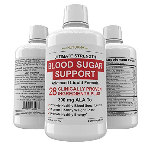 Blood Sugar Support Liquid Formula - 28 Vitamins Minerals and Herbs with 300 mg Alpha Lipoic Acid Multivitamin Supplement - Promotes Energy & Vitality, Healthy Body Weight and Blood Sugar Control