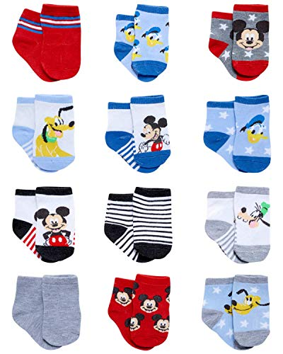 Disney Baby Boys Mickey Mouse Character Designs Socks 12 Pack (Newborn/Infant), Size 12-24M, Mickey & Friends