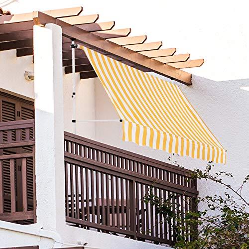 Strattore Toldo articulado con Armazón 250 x 120 cm - sin taladrar - Amarillo/Blanco Enrollable Terraza Balcón Toldo Protector de Sol Retráctil