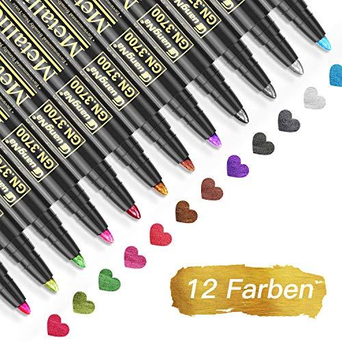 Baozun Metallic Marker Pens, 12 Farben Metallic Stifte für Gästebuch Hochzeit/Geburtstag, Fotoalbum Schwarze Seiten, Scrapbook Album