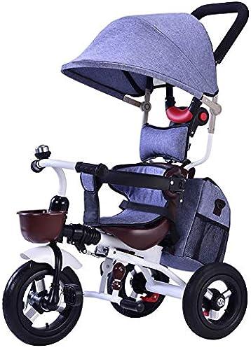 GSDZY - 3 In 1 Kinder Dreirad, Kinderwagen, Faltbarer Rahmen, Mit Sonnenblende Und Faltbarem Putter, Nicht-pneumatisches Gummirad, Für Kinder Von 1-4 Jahren,Blau2