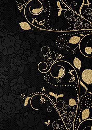 PUNKTRASTER Notizbuch mit Seitennummerierung A4 grau punktiert. PUNKTKARIERETES Papier Block zum Schreiben Skizzen Zeichnen. 3x GUT: Preiswert ... SIE & IHN| Vintage Schwarz Gold Flora Blumen