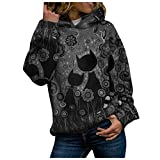IMJONO Mode Sweat à Capuche Femme Grande Taille Blouse Automne Hiver Animal Impression Sweat Pull Manches Longues Pullover Hoodie Sweat-Shirt Hauts(Gris,M