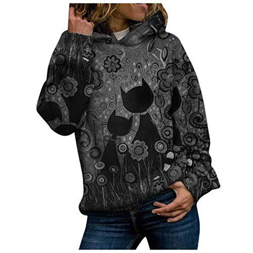 Dawnzen Damen Pullover Winter Herbst 3D Druck Bunt Hoodies Kapuzenpullover Langarm Mode Oversize Kapuzenpulli Sweatshirt Kapuzenjacke Streetwear