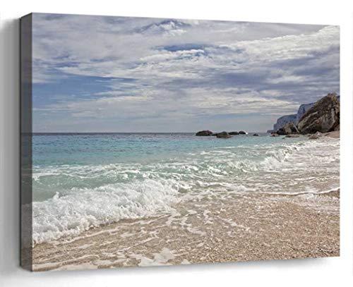 Wall Art Canvas Print Photo Artwork Home Decor (24x16 inches)- Sardinia Beach Water Wave Sea Holiday Italy