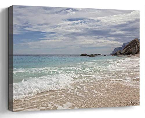 Wall Art Canvas Print Photo Artwork Home Decor (24x16 inches)- Sardinia Beach Water Wave Sea Holiday Italy