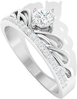 0.38CT Round IGI Certified Diamond Engagement Ring, Antique 14k Gold Engraved Princess Crown Wedding Ring, Bridal Tiara Fi...