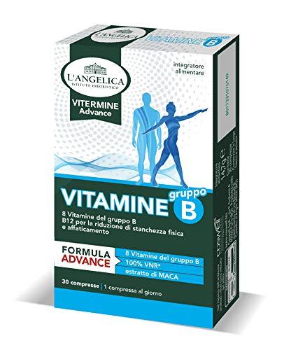 L Angelica Integratore Vitamine B, A Base di 8 Vitamine del Gruppo B, Con l Estratto di Maca, Per la Riduzione di Stanchezza Fsica e Affaticamento, Vegani, senza Lattosio, senza glutine, 30 Compresse