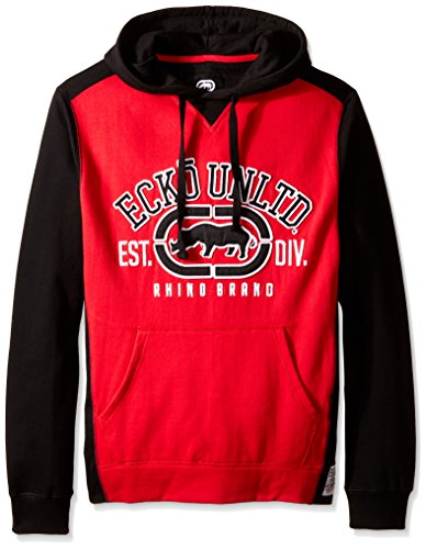 Ecko UNLTD Men's Arch Rhino Pull Over Applique Hooded Fleece, Red, X-Large