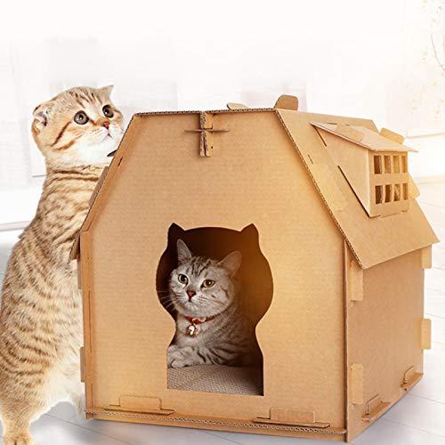 Matedepreso Mascota gato casa gatito papel corrugado rasguño tablero DIY casa plegable auto montaje mascotas herramientas interior