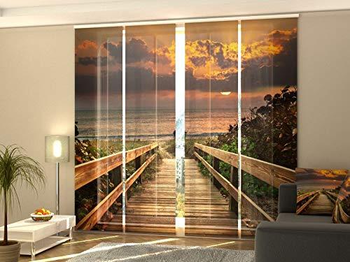 Wellmira Fotogardine, Flächenvorhang, Fotodruck, Schiebevorhang, Bedruckte Schiebegardinen, Gardine mit Motiv, auf Maß (4 x 225x60)