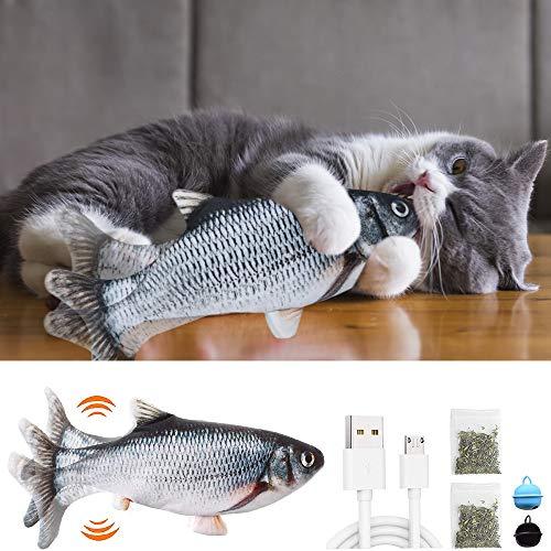 Katzenspielzeug Fisch, Katzenspielzeug Elektrisch mit Katzenminze Interaktives Katzenspielzeug Fisch Flippity, USB Aufladbarer Simulierter Plüschfisch für Katzen zum Spielen, Beißen, Kauen und Treten