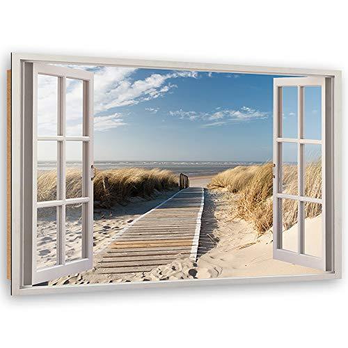 Feeby Cuadro Imagen XXL Playa Impresión de Arte Vista de la Ventana Beige 120x80 cm