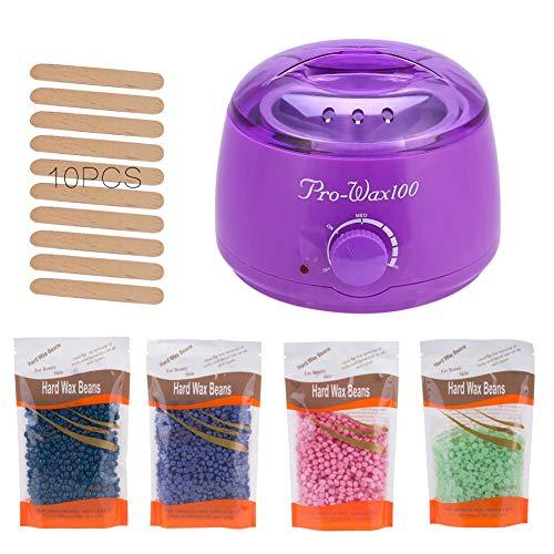 SJTL Machine à Chauffe Cire Professionnel avec Perles à Cire 10 Spatules en Bois Épilation du Corps à la Maison pour Les Aisselles Les Jambes,Violet