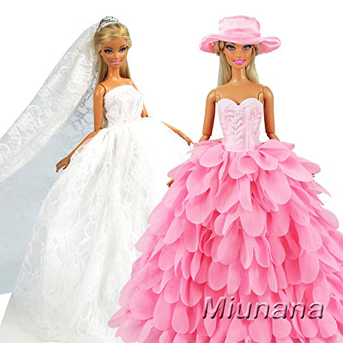 Miunana 2 Sets Kleidung Dress Kleider Abendkleid Prinzessin mit Hut und Brautschleier Partygeschenke für Barbie Puppen