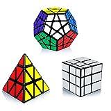 Maomaoyu Speed Cube Set, Pyraminx Piramide Cubo+Megaminx Speed Cube+Mirror Cube , Cubo Magico de la Velocidad Caja de Regalo de 3 Piezas Set Negro Plata