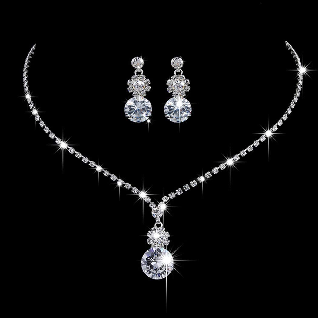 Jakawin Limited time cheap sale Wedding Jewelry Set Silver Bridesmaid Necklace Prom Cheap bargain Earr