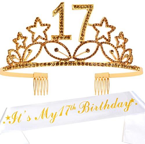 Tiara und Schärpe zum 17. Geburtstag, mit Glitzer, Satin-Schärpe und Kristall-Tiara, Geburtstagskrone zum 17. Geburtstag