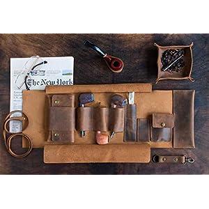 Leder Handgefertigte Pfeifentasche und Tabak Rollup Set, Tobacco