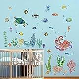 decalmile Pegatinas de Pared Acuarela Bajo el Mar Vinilos Decorativos Tortuga Tropical Peces Adhesivos Pared Habitación Infantiles Habitación Infantiles Bebés Guardería Baño
