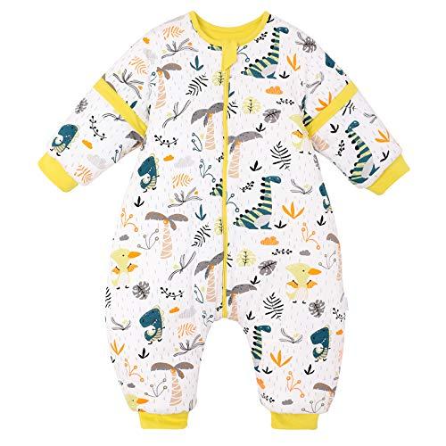 Saco de Dormir para bebé con piernas, para Invierno, Manga Larga, con pies y Zapatos de bebé, 3,5 TOG, tamaño de 82 cm a 90 cm, Color Amarillo