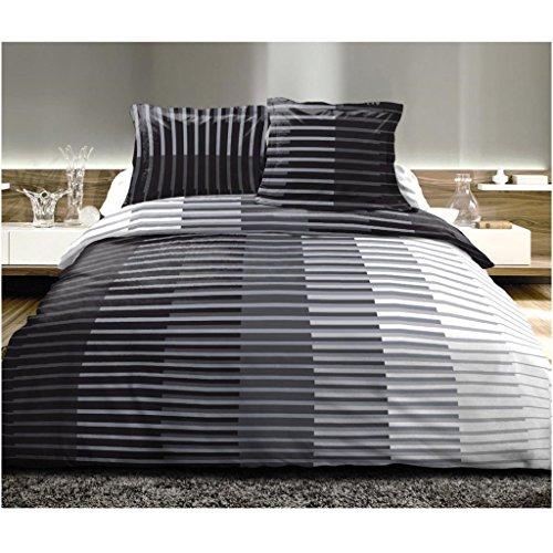 Best Interior Parure di Lenzuola 2piazze, 4pcs 100% Cotone blacktowhite–drap-housse-140X 190Cm