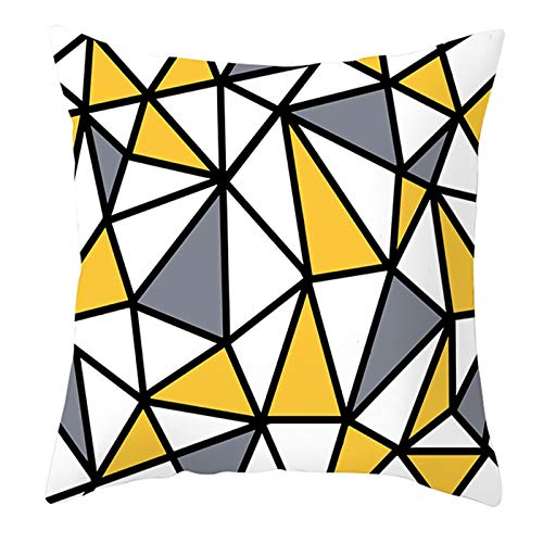KnBoB Funda de Cojin 45 x 45 cm Blanco Amarillo Gris Celosía Triangular Poliéster Estilo 2