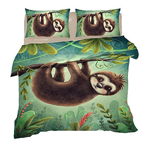 Cartoon Animal Sloth Design Bedding Set Childrens Girls Boys Single Bed Duvet Cover And Matching Pillowcase,3,Full
