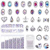 Rhinestones for Nails, Shynek 3318Pcs Nail Art Rhinestones Crystals Diamonds with 30pcs Nail Metal Gems Jewels Stones for 3D Nails Art Decoration and Supplies