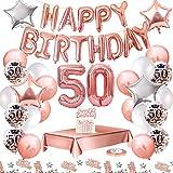 MMTX Globos De Cumpleaños 50 Años Feliz Cumpleaños Decoracion Regalo 50 Regalos Cumpleaños Mujer Oro Rosa con Guirnalda Banner De Cumpleaños para Fiesta,Manteles,Confetti,Globos de Látex Impresos